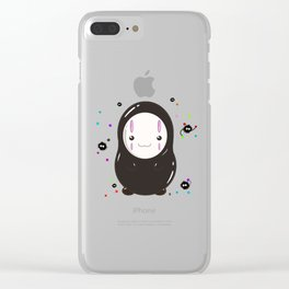 Spirited Away No Face Kawaii With Soot Sprites Clear iPhone Case