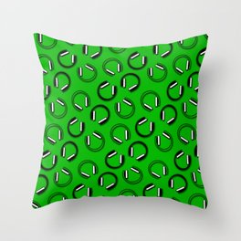 Headphones-Green Throw Pillow