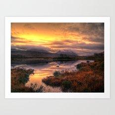 Golden Sunrise Over Loch Ba Art Print