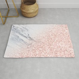 She Sparkles Rose Gold Pink Marble Luxe Geometric Rug