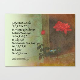 Serenity Prayer Rose and Door Canvas Print