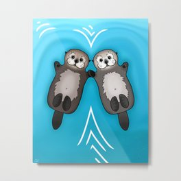 Otters Holding Hands - Otter Couple Metal Print