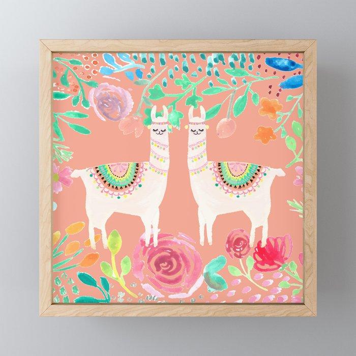 Llama in a floral frame Framed Mini Art Print