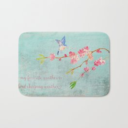 My favorite weather - Romantic Birds Cherryblossoms and Spring Typography on aqua Bath Mat