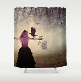 Dark foggy scene with witch woman with crows Shower Curtain