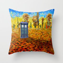 Blue phone Booth at Fall Grass Field Painting Throw Pillow