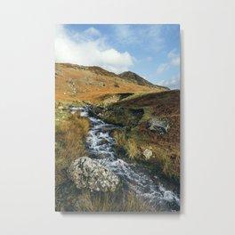 Cinderdale Beck flowing below Whiteless Pike towards Crummock Water. Cumbria, UK. Metal Print