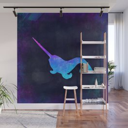 NARWHAL IN SPACE // Animal Graphic Art // Watercolor Canvas Painting // Modern Minimal Cute Wall Mural