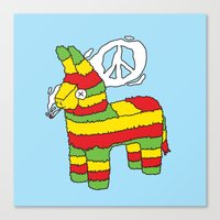 rasta Canvas Prints featuring Rasta pinata by Dmitriylo