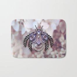 Ornate Purple Beaded Butterfly Bath Mat