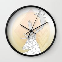 antlers Wall Clocks featuring Antlers by Heidi Banford