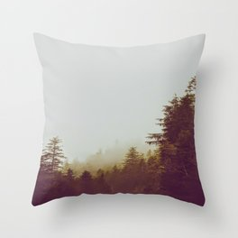 Olive Green Sepia Misty Pine Forest Landscape Photography Parallax Trees Throw Pillow