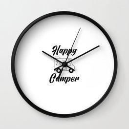Happy Camper, Camping, Camper Gift, Glamping Wall Clock