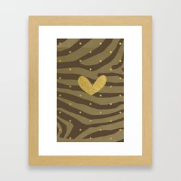 Classy Gold Print and Dots Framed Art Print