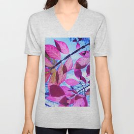 Pink Leaves Unisex V-Neck