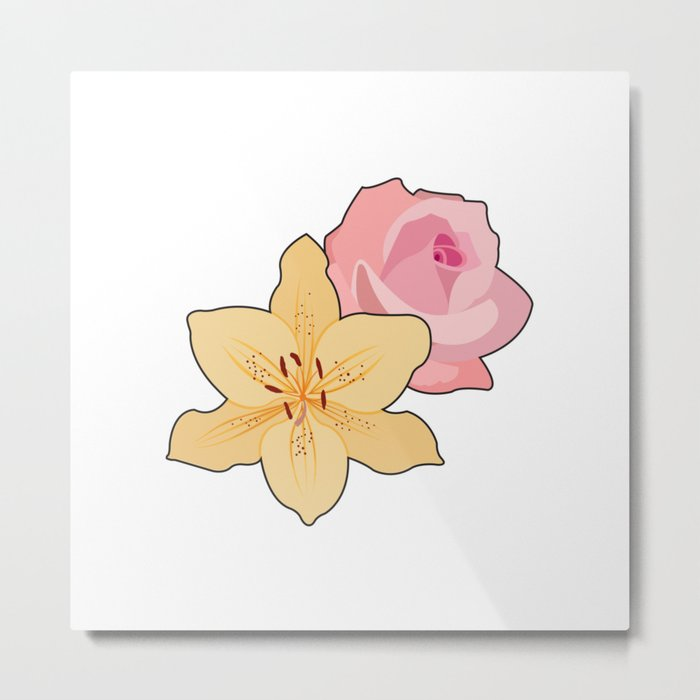 Pink Rose & Day Lily Metal Print