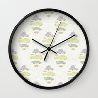 cars Wall Clocks featuring Cars by Lena Pflüger Illustration