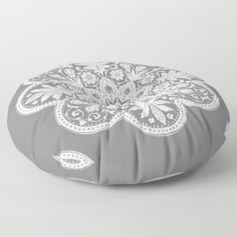 Floral Doily Pattern | Grey and White Floor Pillow