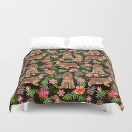 Cocker Spaniel hawaiian tropical print with dog breeds cocker spaniels Duvet Cover