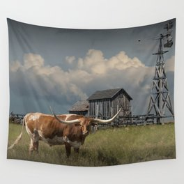Longhorn Steer in a Prairie pasture by 1880 Town with Windmill and Old Gray Wooden Barn Wall Tapestry