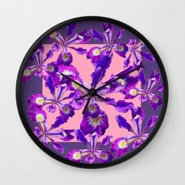Decorative Pink Abstract Purple dutch  Iris Floral Garden Wall Clock