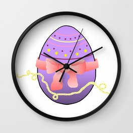 Egg and Pink Bow 01 Wall Clock