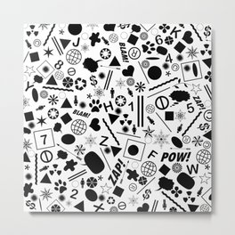 Bits And Pieces - Eclectic Black And White Random Pattern Metal Print