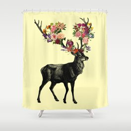 Spring Itself Deer Floral (Cream) Shower Curtain