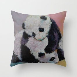 Baby Panda Rumble Throw Pillow