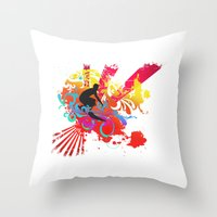 surfer Throw Pillows featuring Surfer by Allison Reich