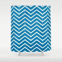 Ibiza Blue Zigzags Shower Curtain