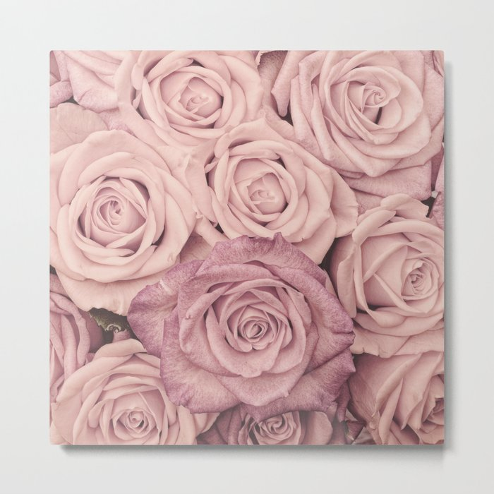 Some People Grumble - Pink Rose Pattern- Roses Metal Print