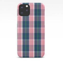 Navy Green Pink White Preppy Plaid iPhone Case