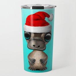 Christmas Platypus Wearing a Santa Hat Travel Mug