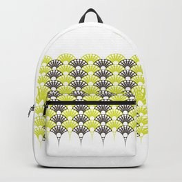polka dotted fan pattern in brown and lime Backpack