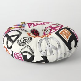 Flower Power Peace Signs Coctail Floor Pillow