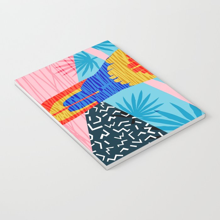Say What - memphis throwback retro neon tropical 1980s 80s style hipster bright bird paradise art Notebook