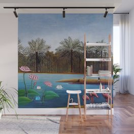 The Flamingos by Henry Rousseau Wall Mural