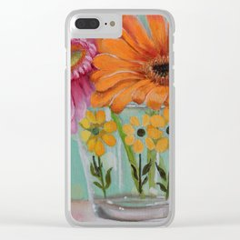 Gerber Daisy Retro Glass Painting Clear iPhone Case