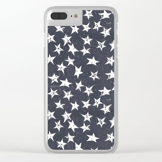 Linocut Stars - Navy & White Clear iPhone Case