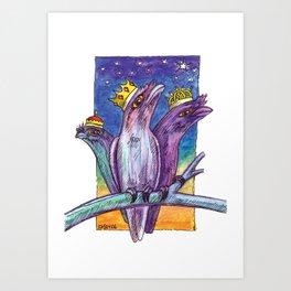 Christmas Frogmouth Kings Art Print