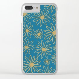 Floral  Pattern - Teal, Blue, Cooper Brown Clear iPhone Case