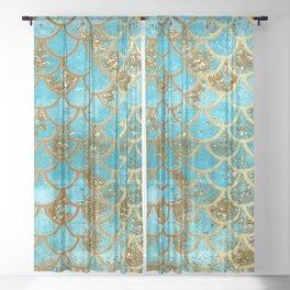 Aqua Teal & Gold Glitter MermaidScales - Mermaid Scales And Sea Foam Sheer Curtain