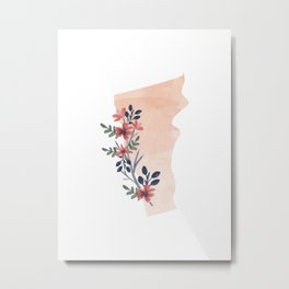 Vermont Watercolor Floral State Metal Print