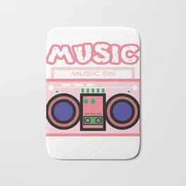 "Cute and  pink ""Radio Music"" tee design. Makes a nice gift to your friends and family this holiday!  Bath Mat"