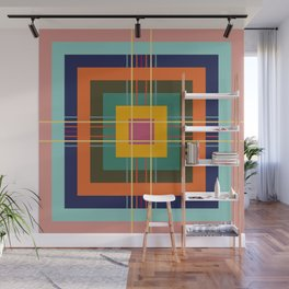 Fine Lines on Retro Colored Squares Wall Mural