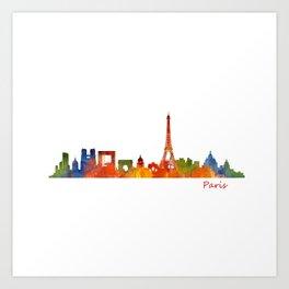 Paris City Skyline Hq v1 Art Print
