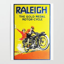Raleigh Motorcycle, vintage poster Poster