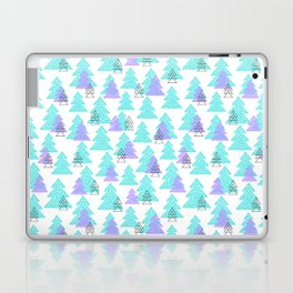Cute winter design with mosaic pine trees. Laptop & iPad Skin