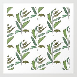 Careless twig in pastel colors on white. Art Print